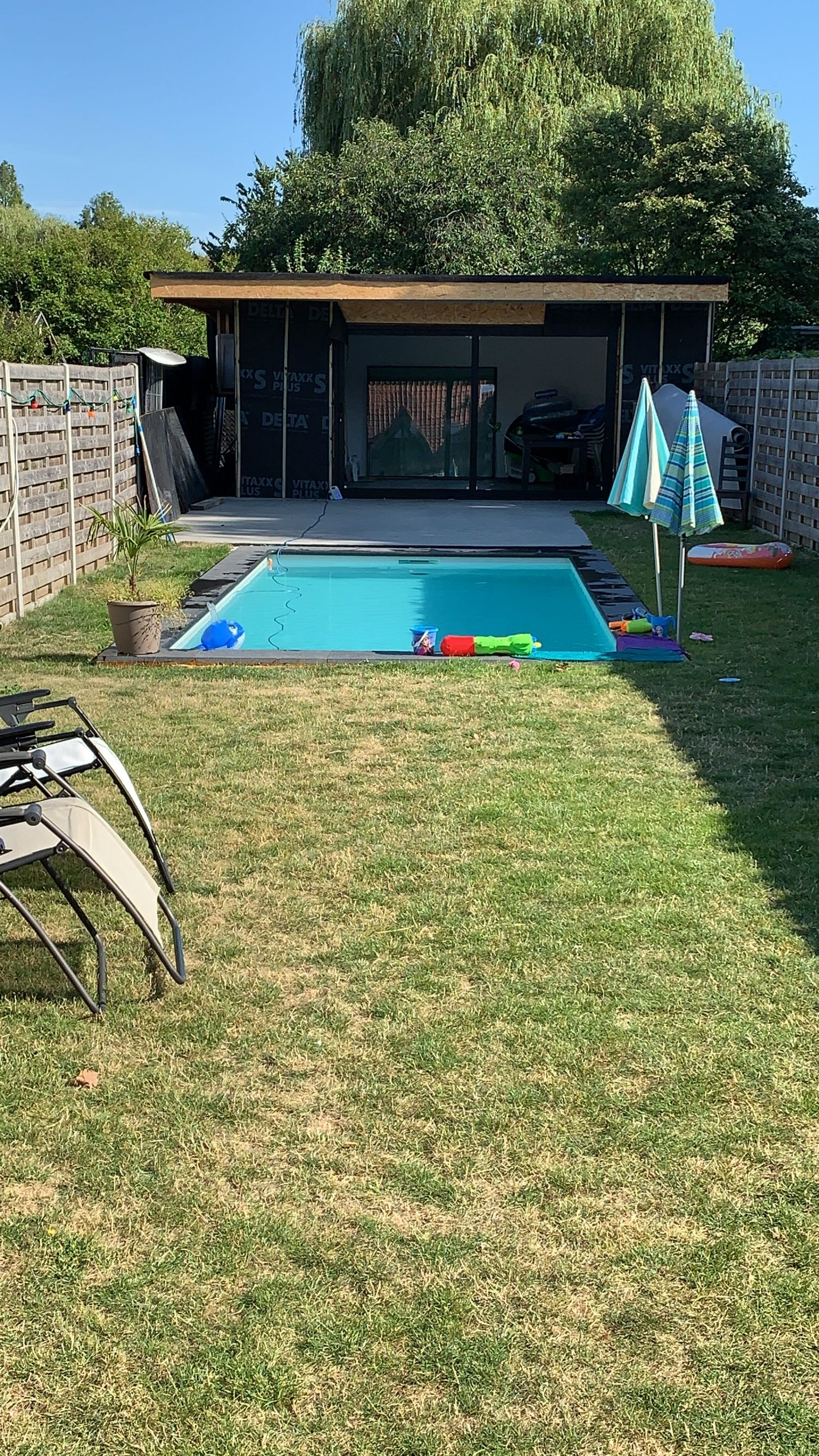 Sunny garden with pool